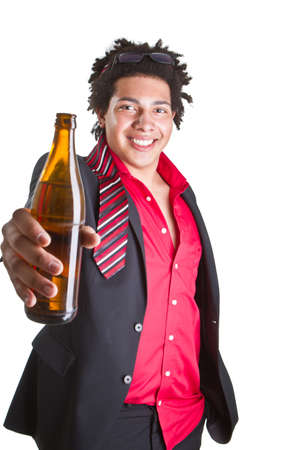 Young afro americanman in business clothes with a bottle of beer. photo