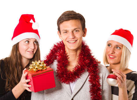 Group of young people having fun with christmas photo