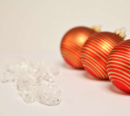 Nice red Christmas balls with copy space photo