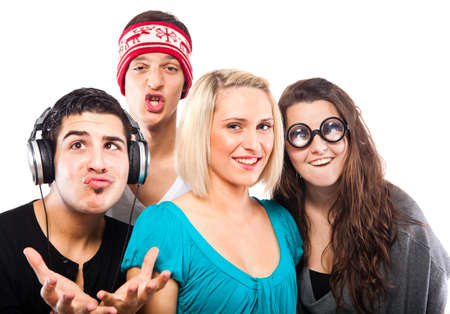 young people fun: Young group of people grimacing and having fun Stock Photo