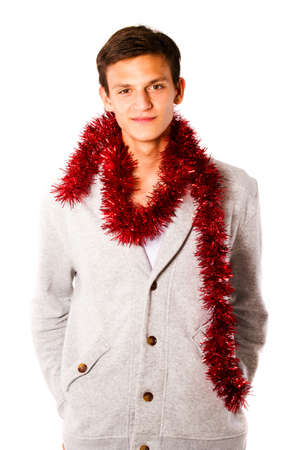 Young man with christmas style clothes photo