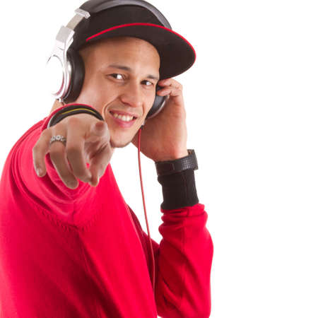 Young asian man with headphones an stylish clothes - a dj. photo