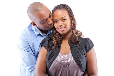 happy black woman: Black young couple isolated over a white background.