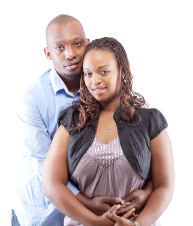 Black young couple isolated over a white background. photo