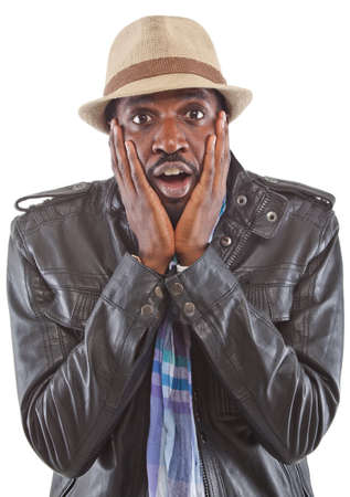 stunned: Young black man acting stunned - isolated over white background. Stock Photo