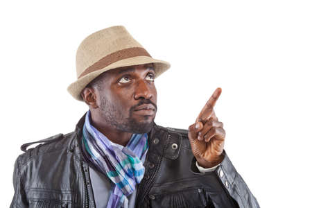 Young stylish black man pointing with his finger. Stock Photo - 12922106