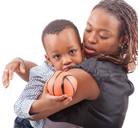 Young afro american mother with her son isolated over a white background. photo