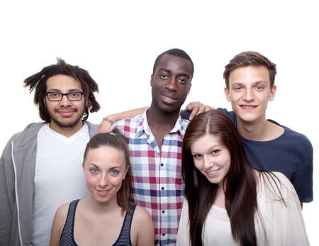 ethnic diversity: Young group of five women and men isolated over white background.