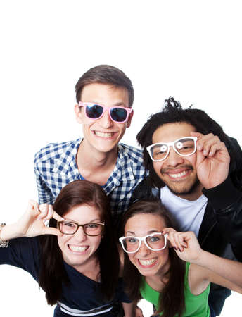 Four young diverse people looking up with nerdy glasses.