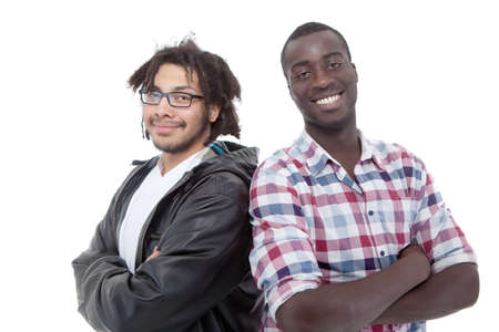 Two young black men over isolated white background. photo