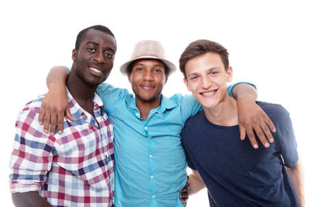 multiracial groups: Three young friends happy - isolated over pure white background. Stock Photo