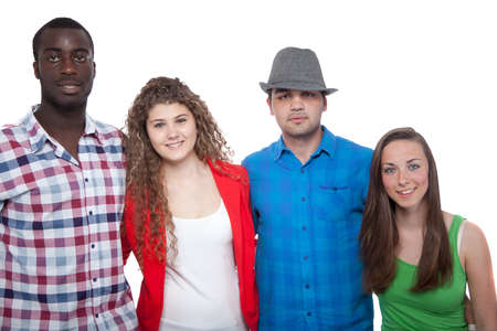 Four young people with different races isolated over white. Stock Photo - 13932930