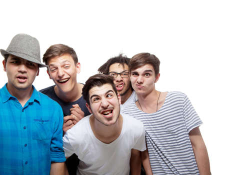 best group: Group of five men joking around - isolated over white background.