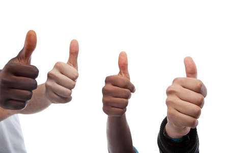 Close Up Of Four Thumbs Up Isolated On White Background Stock Photo - 17755347