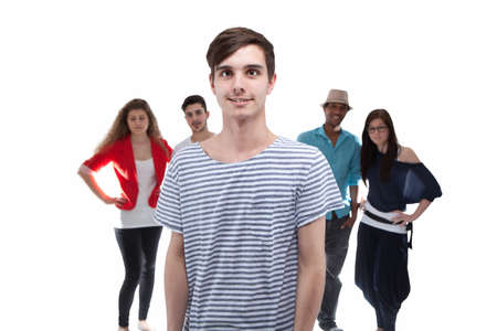 Man Standing In Front Of His Friends On White Background photo