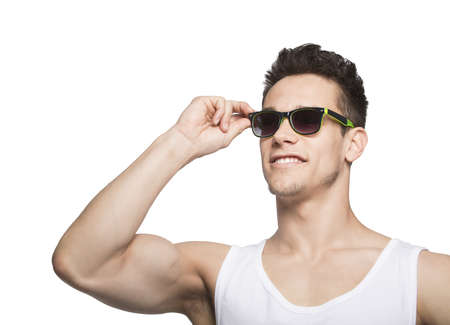 tanktop: Man In Tanktop Holding Goggle Over White Background