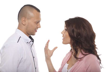 shaved head: Portrait Of Young Couple Talk Over White Background