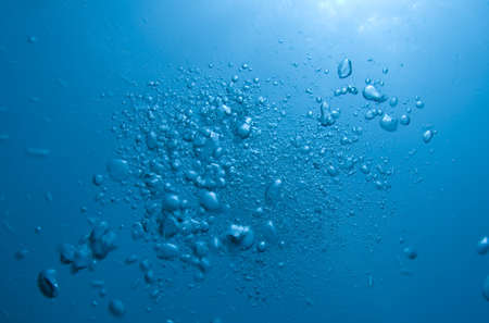Bubbles from a SCUBA diver rising to the surface photo