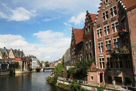 View of Ghent, with old houses along the river Stock Photo - 10354202