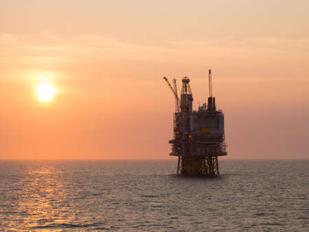 oil platform: Sunrise at an offshore oil platform on the North Sea, in the Norwegian sector