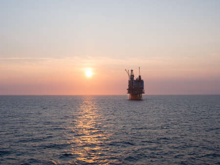 oil platforms: Sunrise at an offshore oil platform on the North Sea, in the Norwegian sector