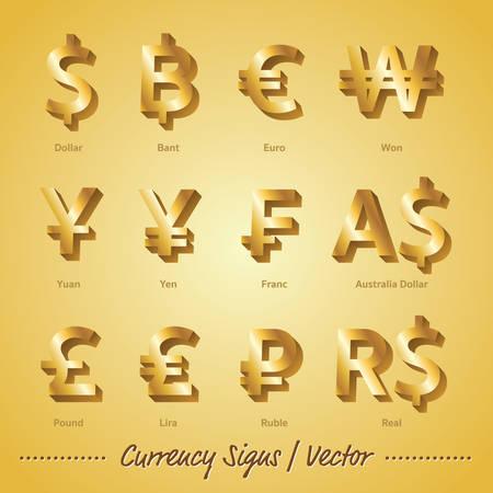 Valuta Tekens Gouden vector en illustratie