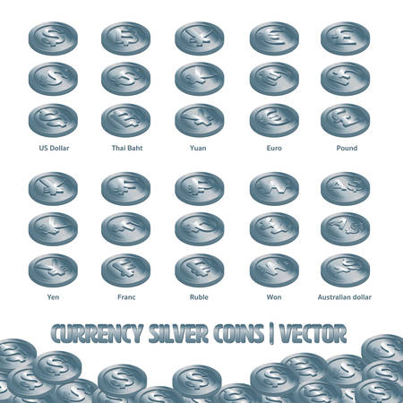 Currency Coins Silver vector and Illustration