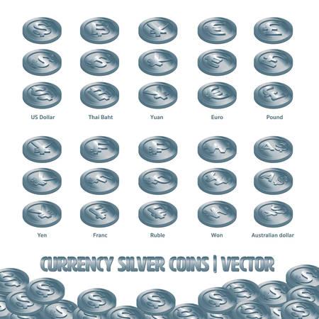 Valuta Munten Zilveren vector en illustratie Stock Illustratie