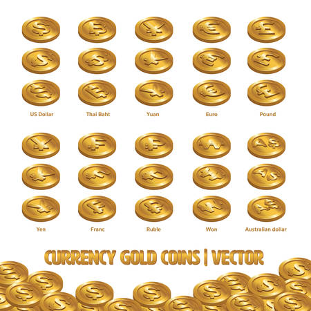 Currency Coins Gold vector and Illustration