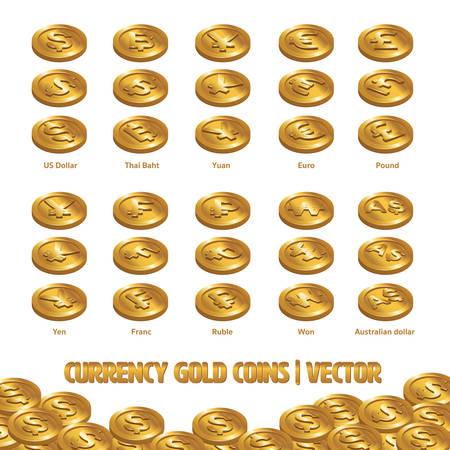 Valuta Munten Gouden vector en illustratie Stock Illustratie