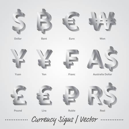 Valuta Tekens Zilveren vector en illustratie