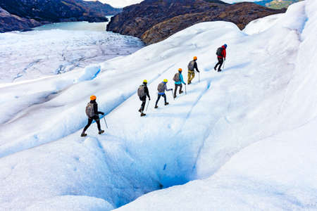 Ice Hikers on Grey Glacier in Patagonia Chile