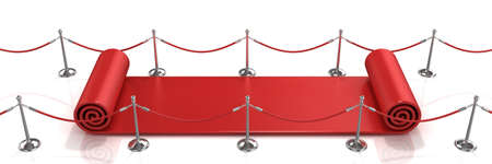 walk of fame: Red carpet unrolling concept on white background
