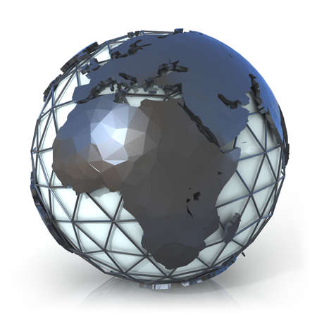 north africa: Polygonal style illustration of earth globe, Europe and Africa view