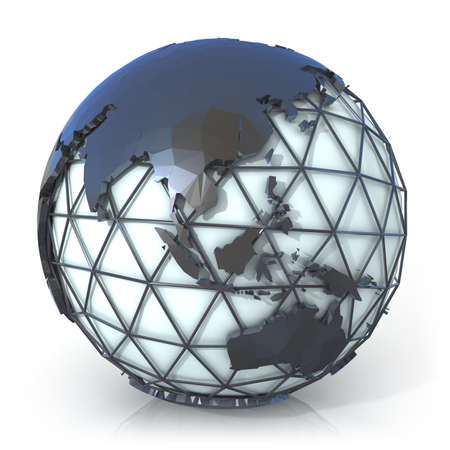 oceania: Polygonal style illustration of earth globe, Asia and Oceania view