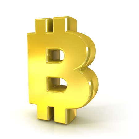decentralized: Bitcoin 3d golden sign isolated on white background