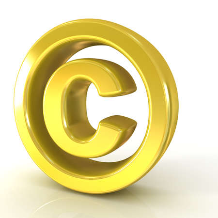 Copyright symbol 3d golden isolated on white background