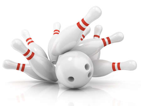 destroying the competition: Bowling ball and scattered pin, isolated on white background