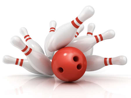 destroying the competition: Red bowling ball and scattered pin, isolated on white background