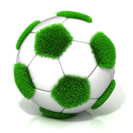 synthetic court: Football ball with grassy field instead black, isolated on white Stock Photo