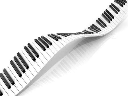 teclado de piano: Teclado de piano abstracto ondulado aislados en blanco