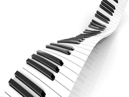 piano lesson: Wavy abstract piano keyboard isolated on white