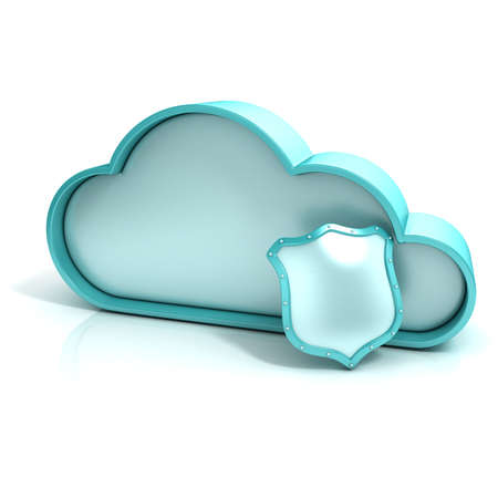 Cloud shield 3d computer icon isolated