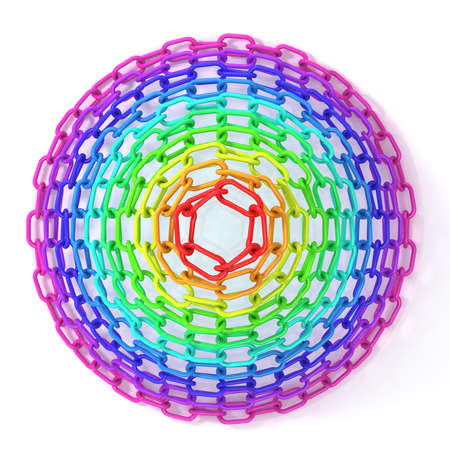 physiological: Colorful concentric circles made of chain, isolated on white. Top view of cone