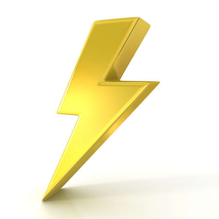 Lightning symbol, 3d golden sign isolated on white background