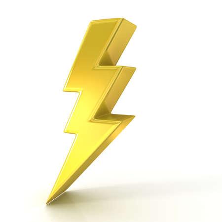 rayo electrico: S�mbolo de rel�mpago, 3d de oro signo aislado sobre fondo blanco Foto de archivo