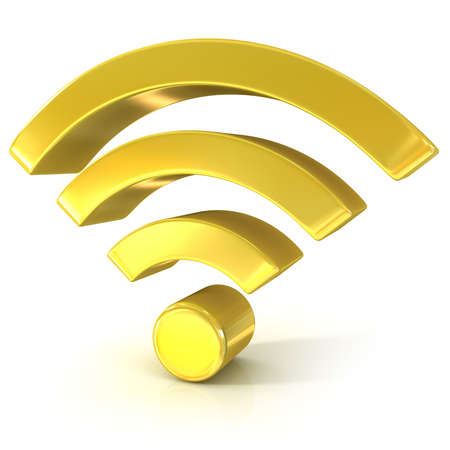 syndication: Wireless network 3d golden sign isolated on white background Stock Photo