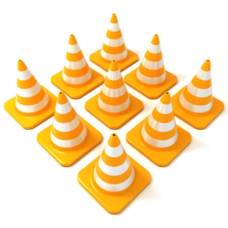 arranged: Traffic cones 3d isolated on white background, arranged in square form, side view