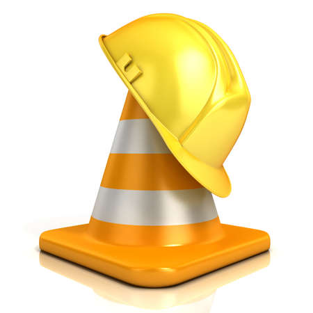 Traffic cone and safety helmet isolated on white background photo