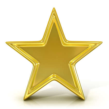 jewell: Single old gold star. 3D render isolated on white background